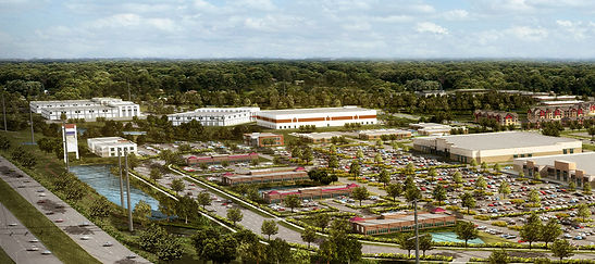 3D aerial rendering of a large commercial center