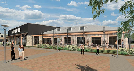 Brew Pub and Plaza Concept Rendering
