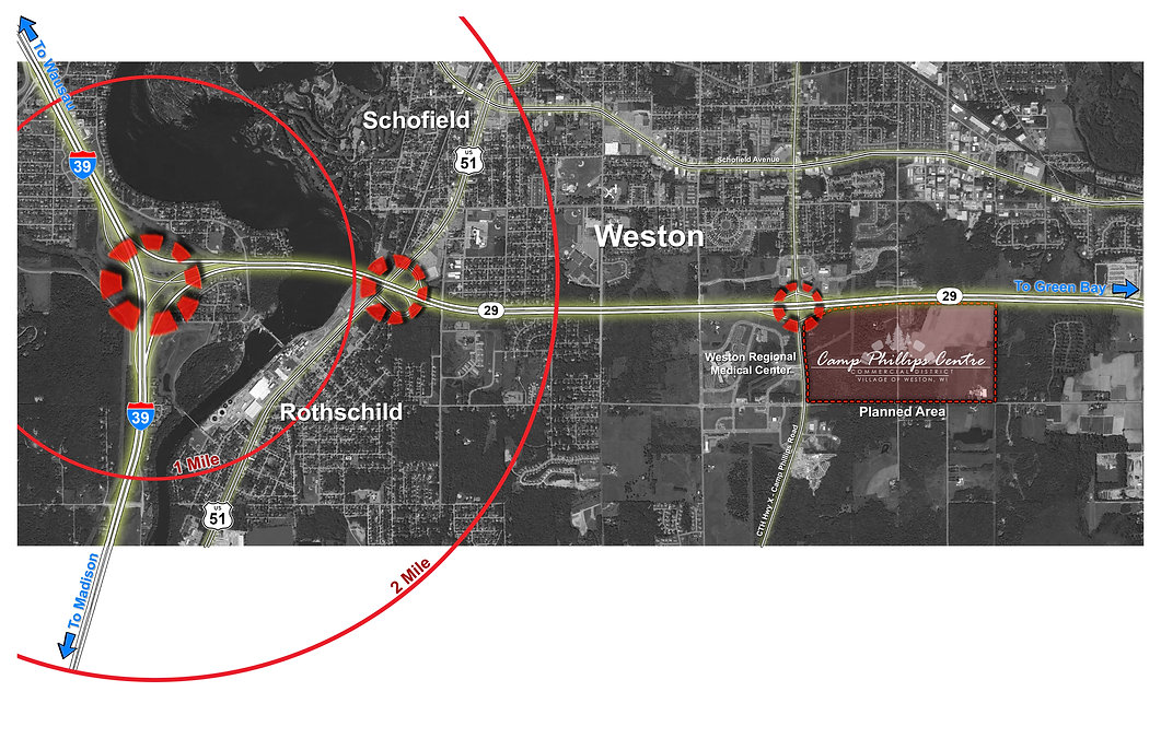 Map showing the development location and 1, 2, and 3 mile radius rings