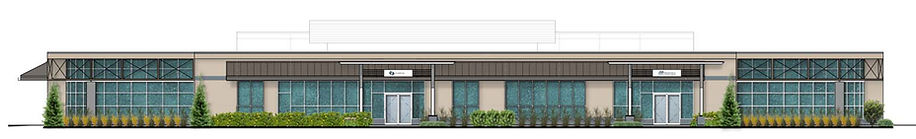Elevation of the front of a newly renovated 1-story professional office building