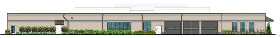 Elevation of the back of a newly renovated 1-story professional office building