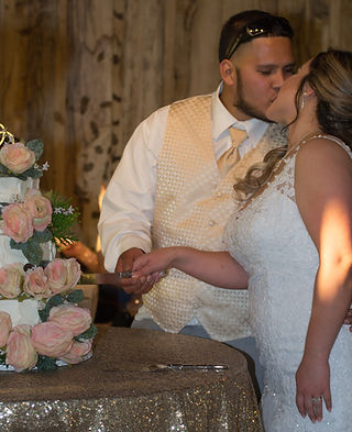 bride and groom kissing and cutting the cake