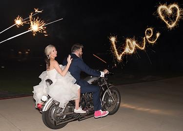 bride  groom motorcyle fireworks