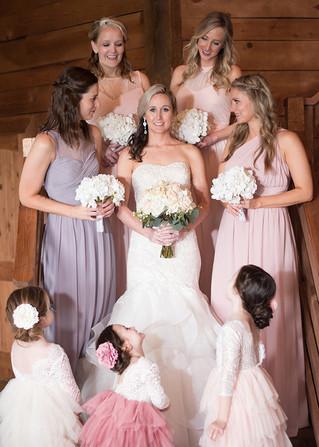 bridesmaids maid of honor bride wedding dress bridal party flower girls