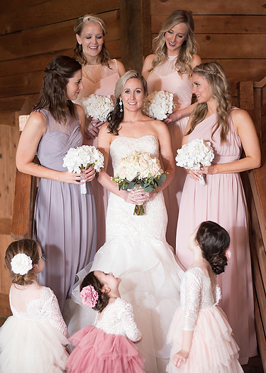 bridesmaids maid of honor bride wedding dress bridal party flower girls