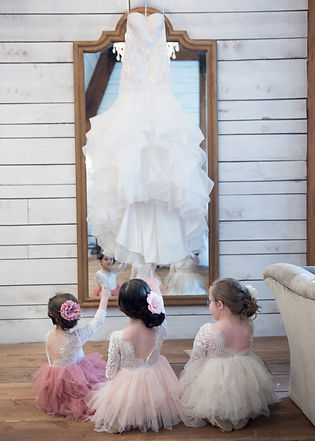 wedding dress at Morgan Creek Barn in Aubrey, Texas