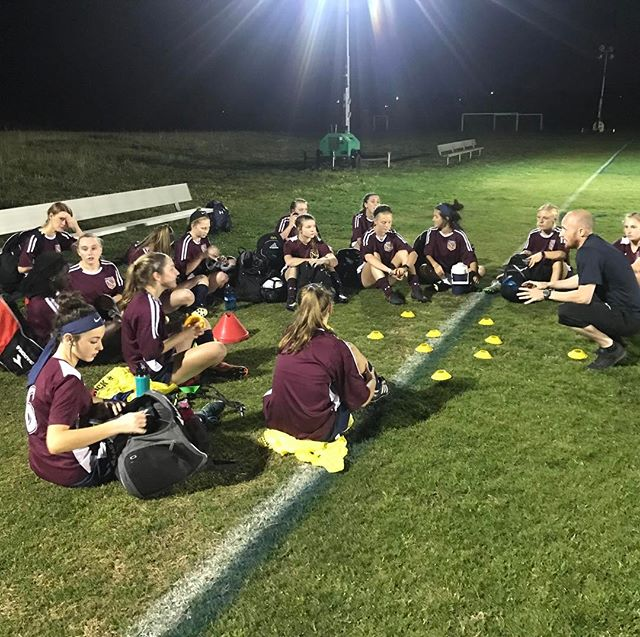 Coach Scottie with #NUSAGirls at training last night! #WeAreNUSA
