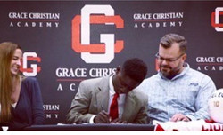Mike Jones #signingday at Grace Christian Academy!