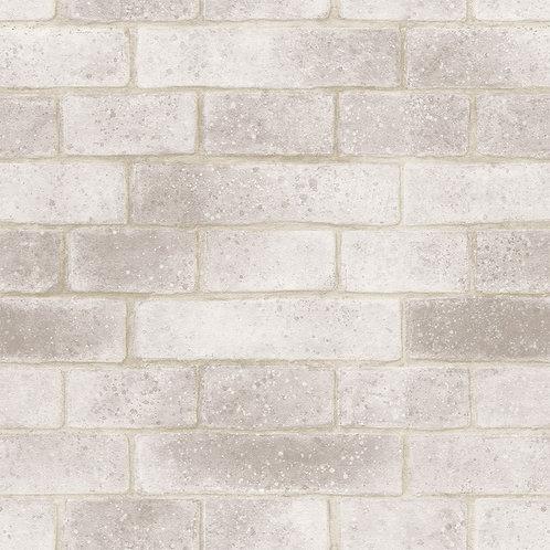 Papel de Parede Tijolo branco e cinza Vinílico com Textura