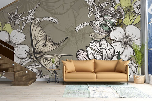 Foto Mural Artistico Borboleta e Flores Marrom