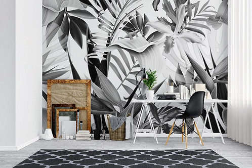 Foto Mural Artístico Folhas Tropical PeB