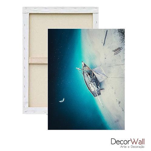 Quadro Decorativo Canvas Collage Natureza Noite com Barco