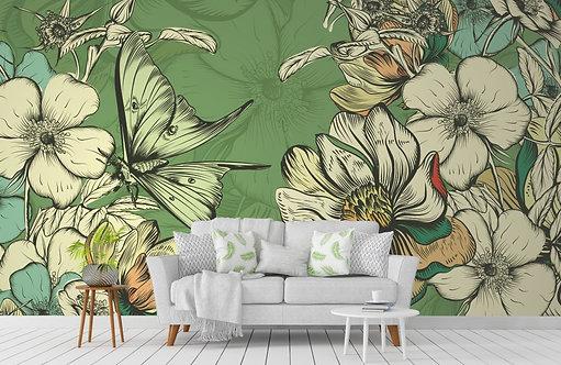 Foto Mural Artistico Borboletas e Flores Verde