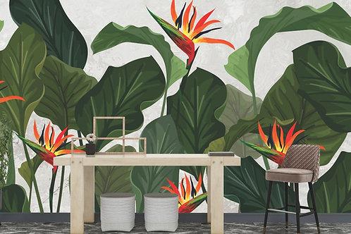Foto Mural Artistico Folhas Verdes