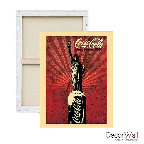 Quadro Decorativo Canvas Coca Cola Vintage Estatua da Liberdade Artistico