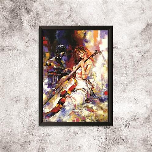 Quadro Violinista Arte em Pintura  - QD023
