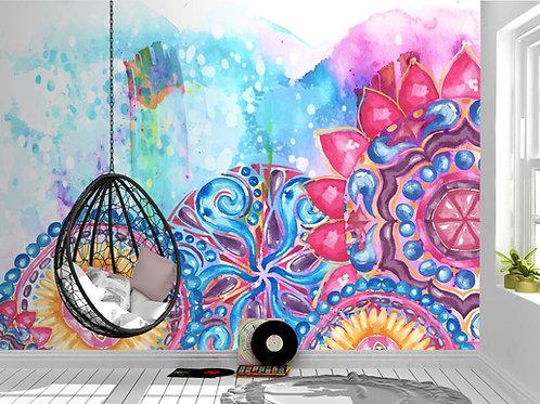 Foto Mural Artístico Mandala Aquarelado
