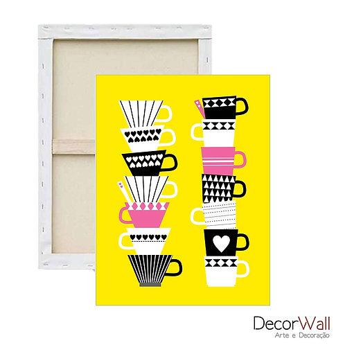 Quadro Tela Xicara de café diverdidas e coloridas