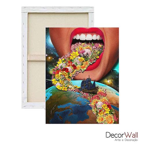 Quadro Decorativo Canvas Collage Mundo Espaço Mulher Abstrato