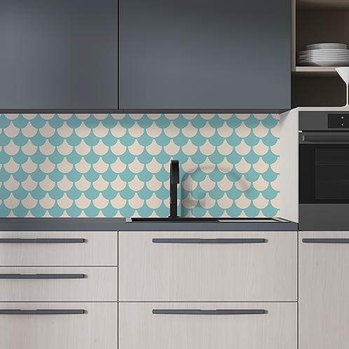 Adesivo para Cozinha Abstrato Azul e Bege