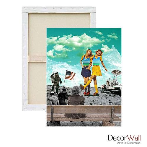 Quadro Decorativo Canvas Collage Lua Espaço com pessoas Abstrato
