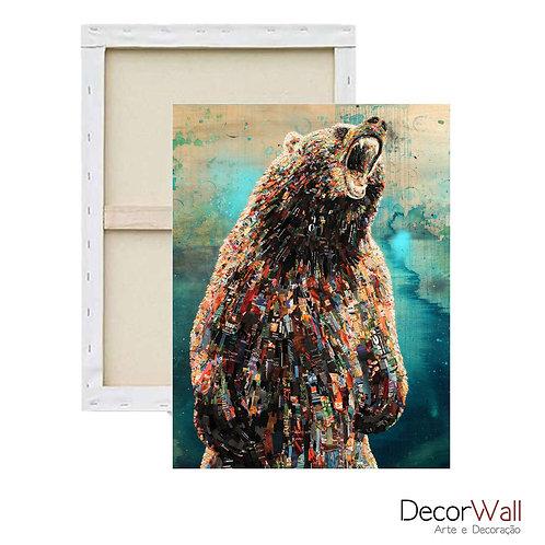 Quadro Decorativo Canvas Collage Urso Fundo Colorido