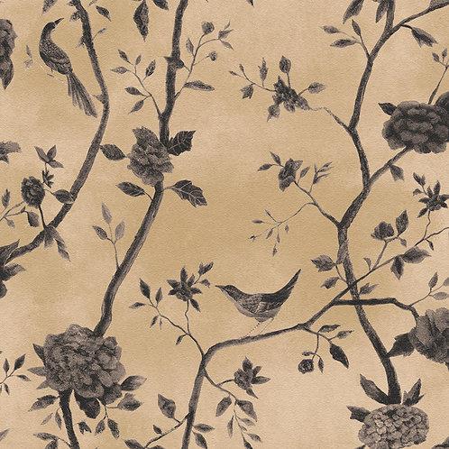 Papel de Parede Floral e Passaros Vinílico com Textura - Natural1443