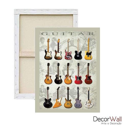 Quadro Decorativo Canvas Modelos de Guitarras Artistico