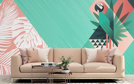 Foto Mural Artistico Arara Geométrica
