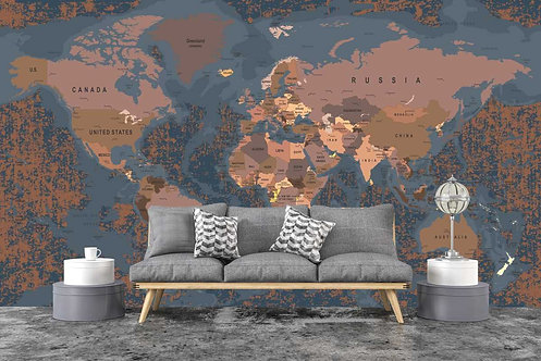 Foto Mural Artístico Mapa Mundi