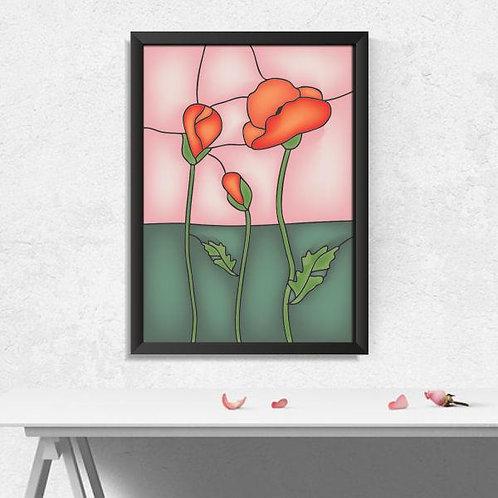 Quadro Floral Abstrato - QD003
