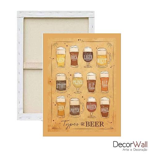 Quadro Tela Beer Tipos de cervejas