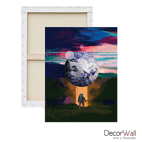 Quadro Decorativo Canvas  Minimals  Astronauta Artistico