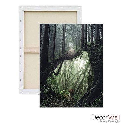 Quadro Decorativo Canvas Collage Paissagem Floresta Abstrato