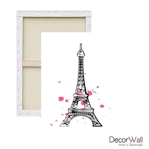 Quadro Tela Torre Eiffel detalhes Rosas