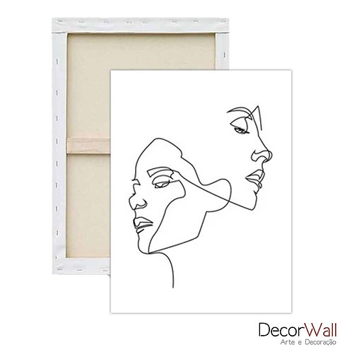 Quadro Decorativo Canvas Abstratos Contorno de Rosto