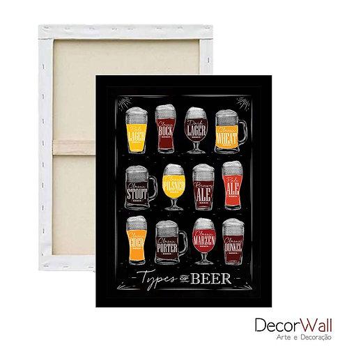 Quadro Tela Tipos de Cervejas em copos