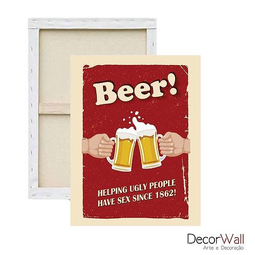 Quadro Decorativo Canvas Frases Beer e Cerveja Artistico