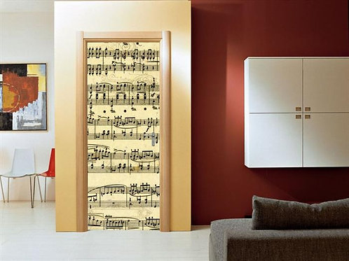 Adesivo para Porta - Notas Musicais