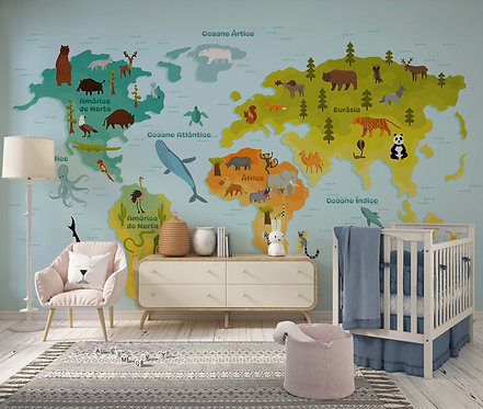 Foto Mural Artístico Infantil Mapa Mundi