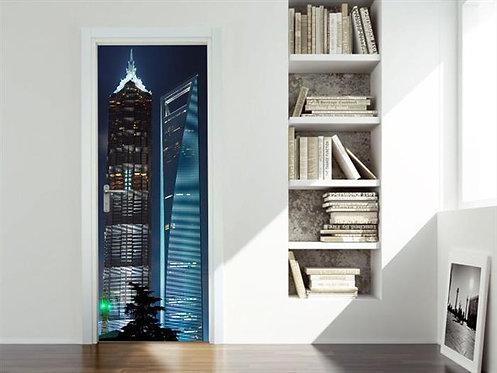 Adesivo para Porta - Prédios Shanghai - China