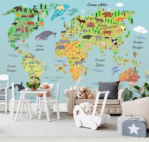 Foto Mural Artistico Mapa Safari Infantil