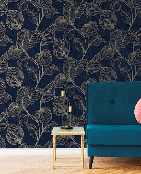 Papel de Parede Importado Vinílico Texturizado Floral Azul