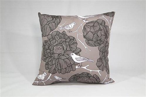 Almofada em Oxford 45cm x 45cm Floral e Pássaros