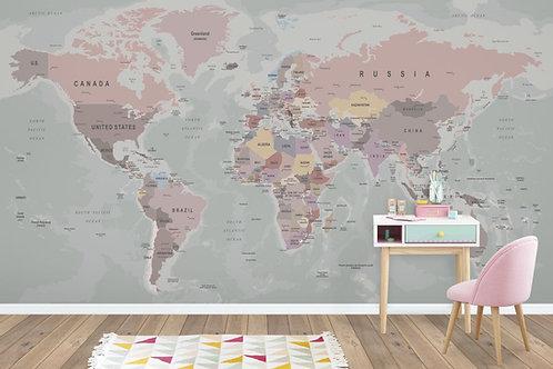 Foto Mural Artistico Mapa Infantil Menina