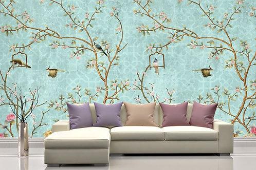 Foto Mural Artistico Arvores e Pássaros