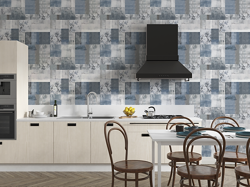 Adesivo para Cozinha Abstrato Azul e Cinza