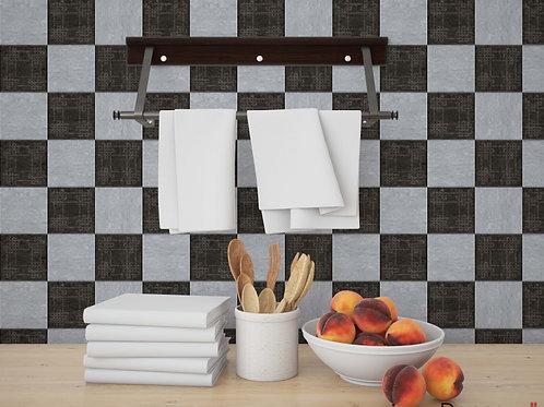 Adesivo para Cozinha Xadrez Preto e Branco