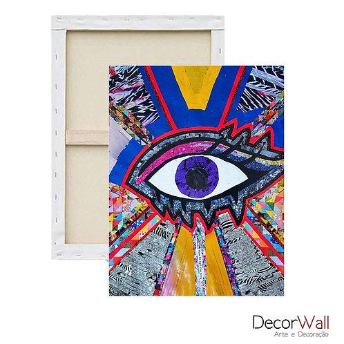 Quadro Decorativo Canvas Collage Olho Abstrato