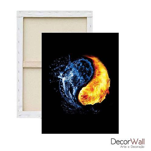 Quadro Decorativo Canvas Yin Yang Artistico Água e Fogo